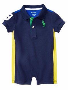 NWT Ralph Lauren Baby Boys Mesh Polo Shortall Romper #RalphLauren