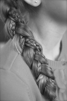 Two small braids in a chunky braid