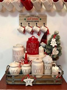 Easy DIY Indoor Christmas Decor and Display Ideas, Ways To Decorate Your Tiered Tray For Christmas, Kitchen Counters, or Fireplace Mantle Decorating, Christmas Decor Indoor Christmas Decorations, Christmas Themes, All Things Christmas, White Christmas, Christmas Crafts, Christmas Christmas, Christmas Coffee, Rustic Christmas, Holiday Tablecloths