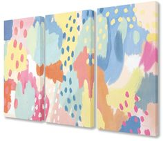 The Stupell Home Decor Collection Bright Life Abstract Colors Triptych Wall Art Set Stretched Canvas Triptych Wall Art, Canvas Wall Art, Canvas Prints, H Design, Thing 1, Wood Plaques, Wall Art Sets, Abstract Canvas, Bright