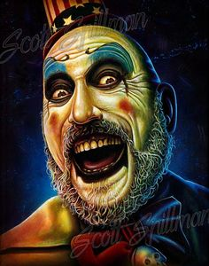 Captain Spaulding 11 x 14 print Scary Movie Characters, Zombie Movies, Evil Clowns, Scary Clowns, Creepy, Horror Icons, Horror Films, Zombie Art, Rob Zombie