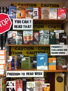 My Middle and Upper School library 'Freedom to Read' display this past year. I added the reasons why that particular book had been banned or challenged on the small tags on each front cover.