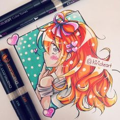 @kiricheart their AMAZING manga chibi girl they designed using the Chameleon Pens.