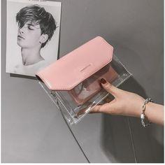 Pink Clear Purse Cute Transparent Chain Cross-body Bags