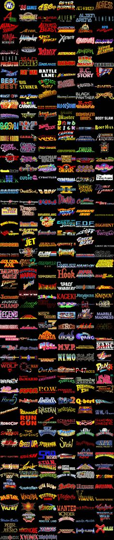 Video game titles that were usually found on arcade cabinets or cartridges in the 90's and earlier. Arcade games usually meant to bring kids in to spend money on a inevitably difficult games and stockpile change. Typefaces were usually deigned to reel them in too.