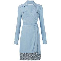 DVF Savion Denim Wrap Dress (1,420 SAR) ❤ liked on Polyvore featuring dresses, blue wrap dress, western summer dresses, cowgirl dresses, blue dress and print wrap dress