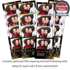 elegant new years 4 up strips photo booth template