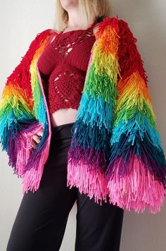 Rainbow Outfit, Rainbow Fashion, Rainbow Clothes, Winter Outfits, Cool Outfits, Fashion Outfits, Rave Outfits, Pride Outfit, Crochet Fringe