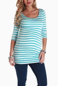 Baby-Blue-White-Striped-3/4-Sleeve-Maternity-Shirt #maternity #fashion