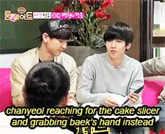 "is Baekhyun cupping his arm as he reaches too it's like their constantly running this experiment ""how much physical contact can we possibly make while performing actions that do not require us to make physical contact"""