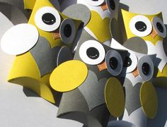 12 Owl Pillow Treat Boxes Party Favor Yellow Gray by Whootsies, $15.99