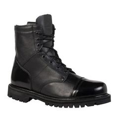 This Rocky men's Paraboot was built will full-grain leather; its black hue looks sharp and will correspond nicely with your uniform. The polishable toe is a nice feature to have on these duty boots because it allows you to keep the footwear looking great. While these boots have a lace-up design that lets you to adjust the tightness or looseness of the fit, there is also a side zipper that makes it possible to get these boots on/off easily.