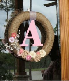 Woodland / Forest Themed Baby Shower for a Girl | Pink Monogrammed Twine Wreath