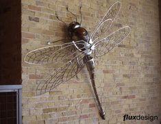 Flux Design,dragon fly metal sculpture,mechanical insect sculpture,bug sculpture,steampunk insect,steampunk bug,steampunk dragon fly,steel &...