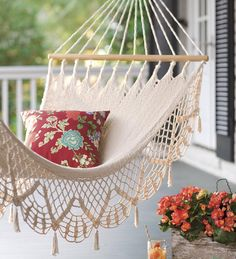 Crochet Fringe Cotton Hammock