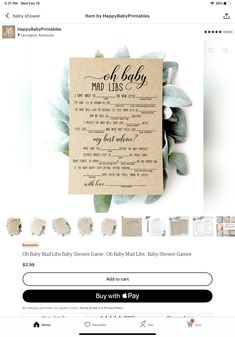 Baby Shower Mad Libs, Baby Shower Items, Shower Ideas, Place Card Holders, My Love, Wedding, My Boo, Valentines Day Weddings, Hochzeit