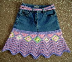 Great combination! Recycle jeans that fit in the waist but get too short. Think I need to practice my pattern design.