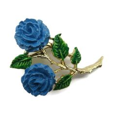 Antique Button窶ヲBig Blue Glass Shape with Sweet Enamel Pink Roses /& Green Leaves