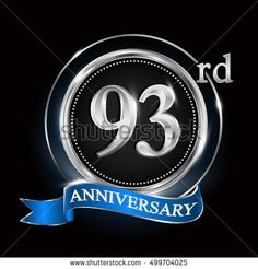 Celebrating 93rd anniversary logo. with silver ring and blue ribbon.