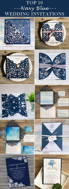 classic navy blue wedding invitations 2016 trends @elegantwinvites - FREE RSVP CARDS, FREE SHIPPING