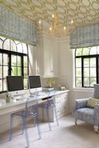 Ceilings covered in wallpaper are always a lovely surprise!  Why have a boring white ceiling when you can add darling detail and dimension to such a large surface area?