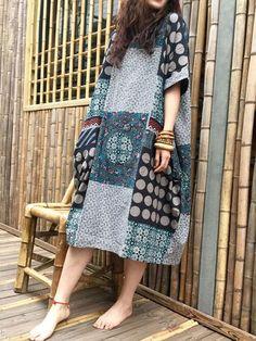 O-NEWE Vintage Floral Printed Short Sleeve Pocket Dress For Women