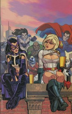 Power Girl, Huntress from cover of JSA Classified #3 art by Amanda Conner / Jimmy Palmiotti © DC 2005