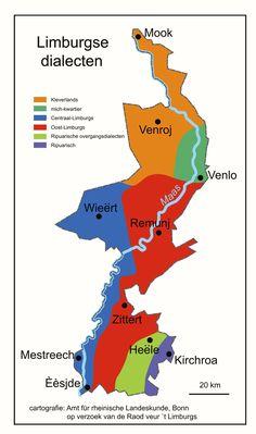 Limburgse dialecten (klik op de kaart voor een vergroting)