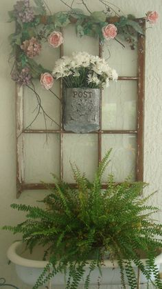 """Old """"Post"""" box with flowers on old window. Antique Windows, Vintage Windows, Old Windows, Old Window Crafts, Old Window Decor, Window Ideas, Window Pane Art, Window Frames, Recycled Door"""