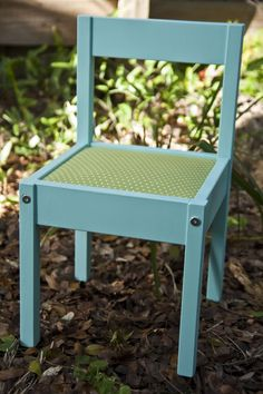 Could really do some cute little things with this Little Chair -Tutorial on how to make cushion...  about $20 from Ikea