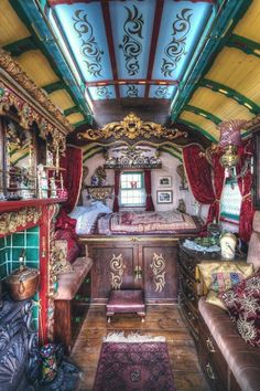 Tiny doesnt have to mean minimalist! Caravan ~ Vardo ~ Wagon: interior Tiny doesnt have to mean minimalist! Caravan ~ Vardo ~ Wagon: interior was last modified: April Bohemian Gypsy, Gypsy Style, Bohemian Decor, Gypsy Decor, Bohemian Interior, Gypsy Wagon Interior, Boho Chic, Modern Bohemian, Interior Trailer
