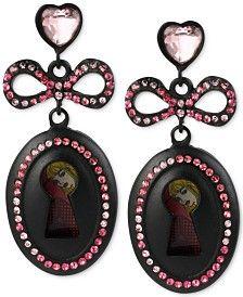 Betsey Johnson Black-Tone Pavé Crystal Bow-and-Keyhole Drop Earrings