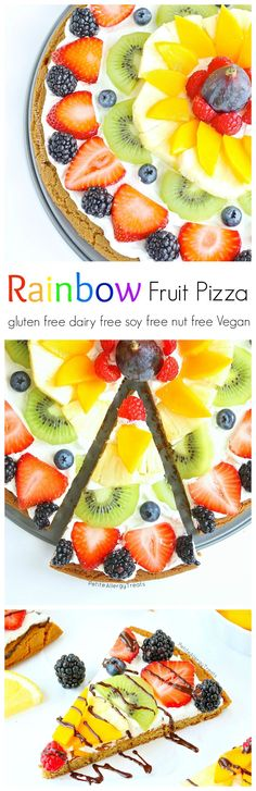 Fruit Pizza (dairy free gluten free Vegan)- Impress anyone with a dairy free gluten free rainbow fruit pizza made with whole grains. #tothefullest: