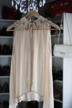 sheer sleevless blouse, pearl embellished collar