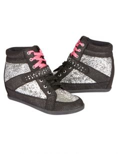 I MUST have these for this school year! Glitter Wedge Sneakers