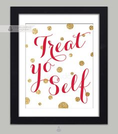 Treat Yo Self Poster Parks and Recreation Quote Tom & Donna 11x14 Fuchsia Pink Gold Glitter Dots Quirky Parks Rec Wall Decor Premium Print