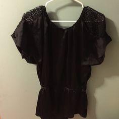 Cute black shirt! See thru shoulders Forever 21 Tops Blouses
