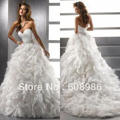 New Arrival  Organza Sleeveless Sweetheart Made In China Wedding Dress 2014  A3329 US $270.70