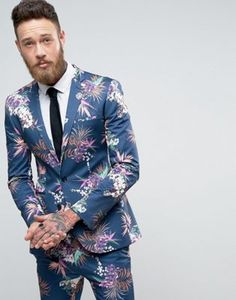ASOS Super Skinny Suit Jacket In Blue Tropical Floral Print In Sateen