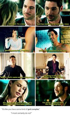 Lucifer hates talking about God Movies Showing, Movies And Tv Shows, Geeks, Funny Cute, Hilarious, Hannibal Tv Series, Tom Ellis Lucifer, Funny Memes, Memes Humor