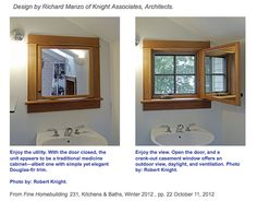 "Poster says, ""From Fine Homebuilding magazine.  What appears to be a medicine cabinet over the sink in a small bathroom is actually a window.  The back of the mirror is another mirror, allowing light to be bounced into the bathroom, and a mirror to still be available when the window is open.  This might be my solution for the problem of where to place the window in my tiny house bathroom."""