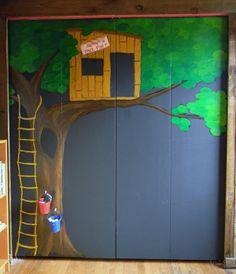 Kids Room Closet Doors Playrooms Ideas For 2019 Painted Closet, Bedroom Closet Doors, Creative Closets, Boys Closet, Walk In Closet Design, Murals For Kids, Door Murals, Trendy Kids, Kids Bedroom