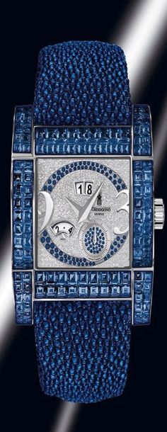 Love this blue De-Grisogono watch. Ring Armband, Le Grand Bleu, Beautiful Watches, Cool Watches, Unique Watches, Luxury Watches, Bling Jewelry, Shades Of Blue, Blue And Silver