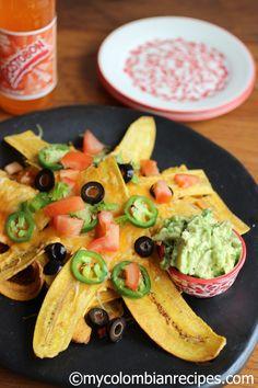 My Colombian Recipes // Plantain Nachos My Colombian Recipes, Colombian Cuisine, Colombian Dishes, Comida Latina, Plats Latinos, Plantain Recipes, Latin Food, Cooking Recipes, Easy Recipes