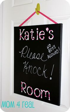 Canvas Chalkboard w/ Vinyl Letters - Mom 4 Real