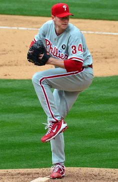 May Philadelphia Phillies pitcher Roy Halladay threw the perfect game in major league history, beating the Florida Marlins Phillies Baseball, Baseball Players, Baseball Field, Baseball Cards, Baseball Photos, Philadelphia Phillies, Historic Philadelphia, Phillies World Series, Ucla Basketball