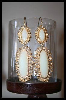 White Ivory & Gold Oval Casting Stone Earrings $22.00
