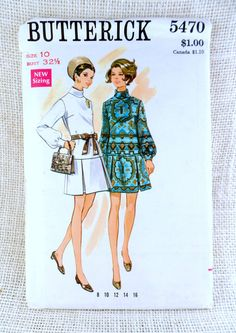 Vintage 1960s Dress Pattern Butterick 5470 by momandpopcultureshop