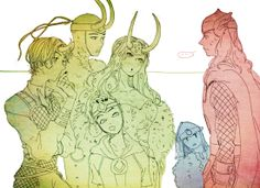 Lady Loki: Oh, don't be coy now, brother of ours!  Which of us do you prefer? / Balder: 8^   /  Thor: ...I shall just...be taking the small one home with me... / Kid Loki: YAAYYYY!!