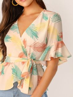 Flounce Sleeve Surplice Wrap Self Belted Top Blouses and Tops wonder woman shirt cape plus size Clothing Patterns, Dress Patterns, Casual Clothing Stores, Wonder Woman Shirt, Sleeves Designs For Dresses, Blouse Dress, Types Of Sleeves, Chic Outfits, Blouse Designs